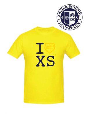 mighty sports xavier i love xs yellow tee front