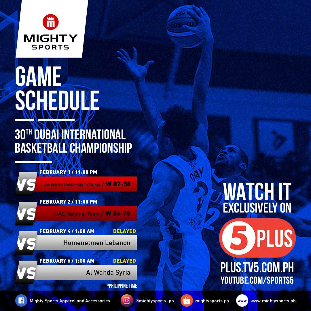 updated mighty sports dubai 2019 schedule | 30th dubai international basketball tournament | caesar wongchuking, alex wongchuking