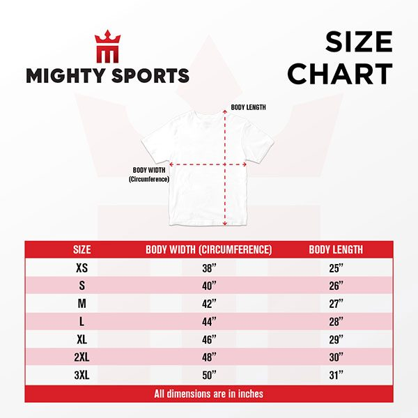 mighty sports size chart