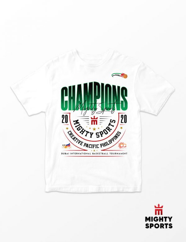 mighty sports dubai 2020 champs tee white front