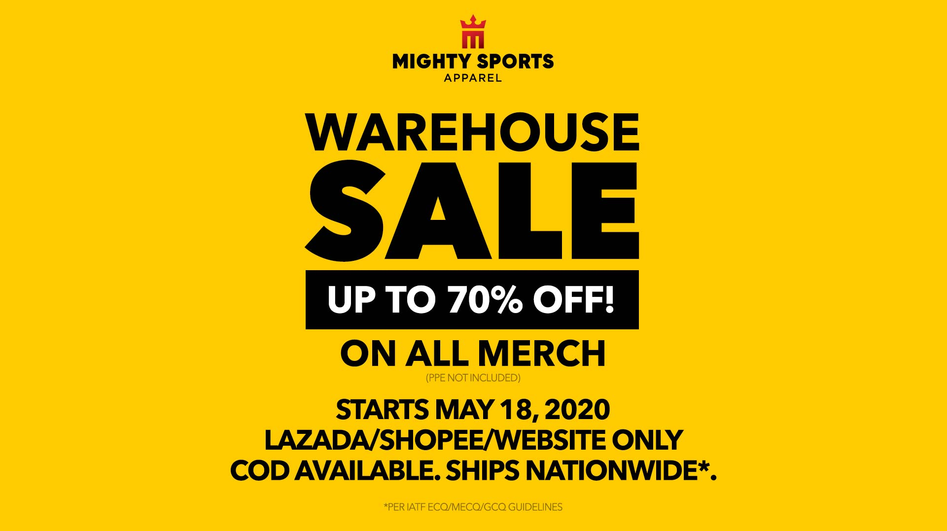 mighty sports warehouse sale 2020