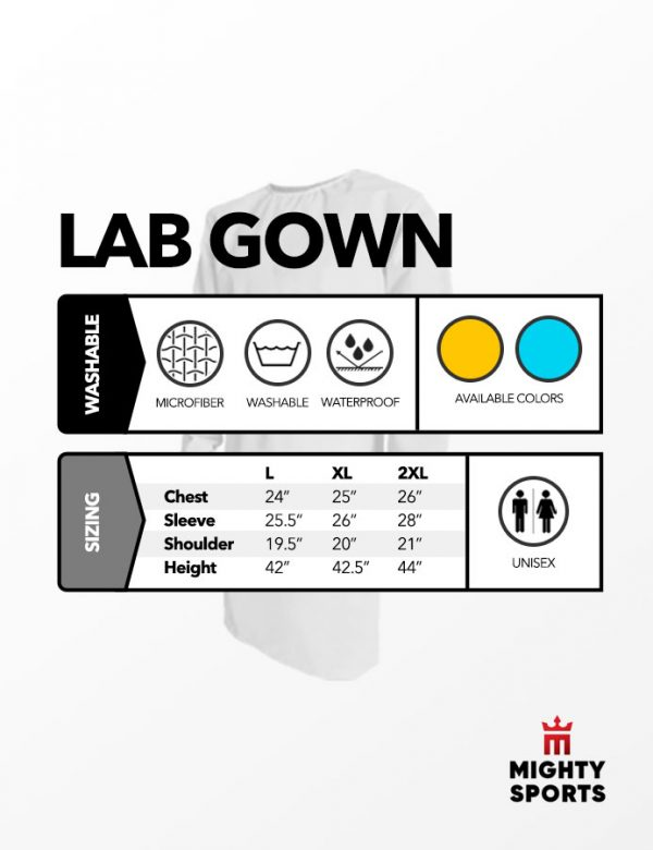 mighty sports ppe labgown washable specs