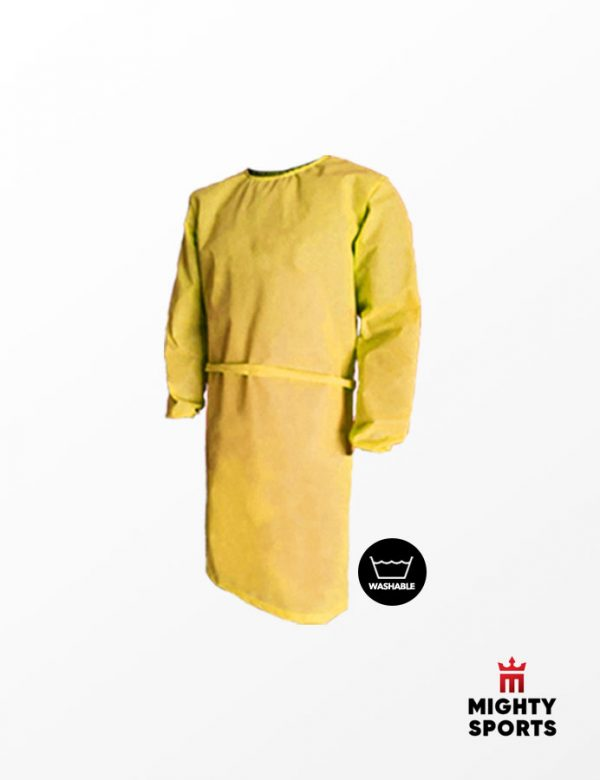 mighty sports ppe washable lab gown yellow gold